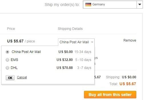 Aliexpress Shipping Options